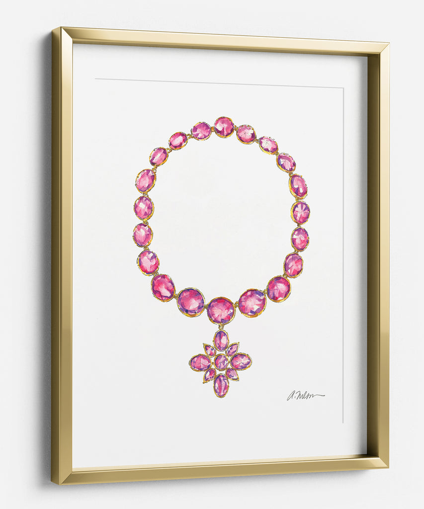 Georgian Starburst Necklace Watercolor Rendering in Yellow Gold with Paste Stones printed on Paper