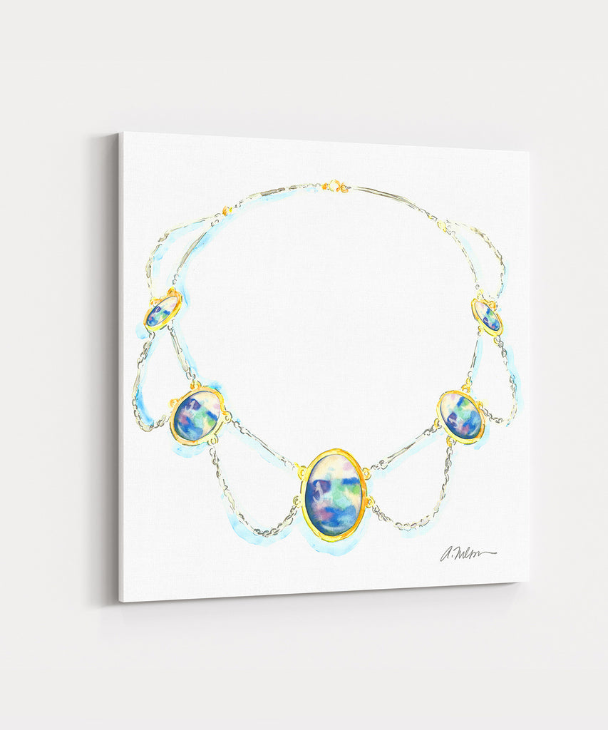 Watercolor Necklace Rendering in Yellow Gold with Sterling Silver and Opals printed on Canvas
