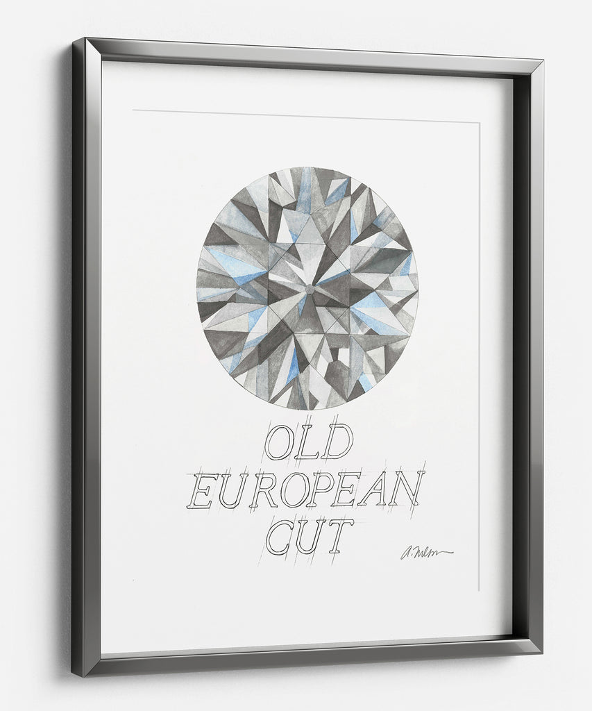 Old European Cut Diamond Watercolor Rendering printed on Paper