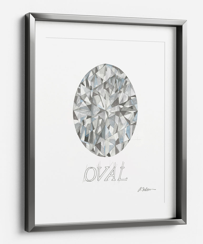 Oval Diamond Watercolor Rendering printed on Paper