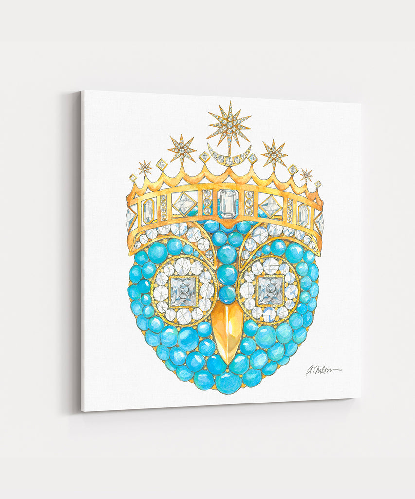 Owl Brooch Watercolor Rendering in Yellow Gold with Turquoise & Diamonds