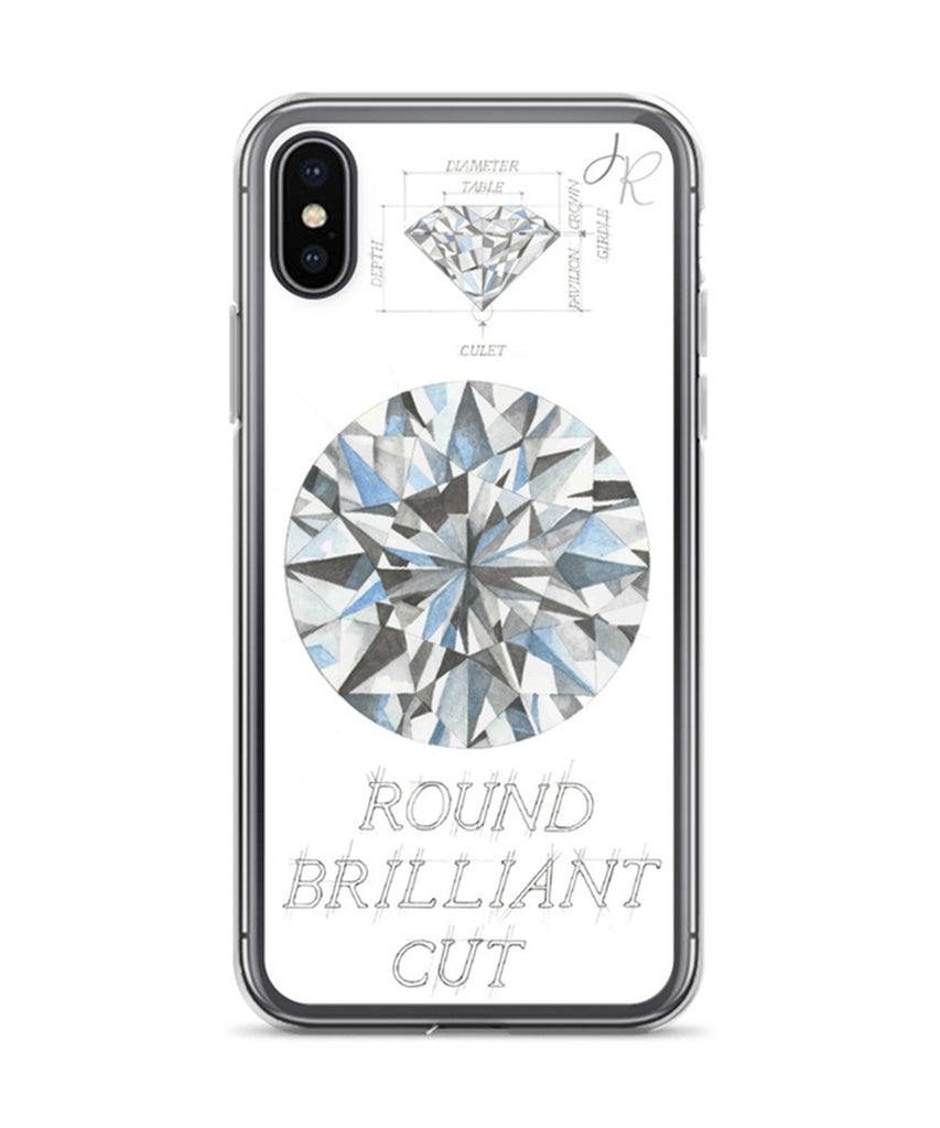 Round Brilliant Cut Diamond Phone Case