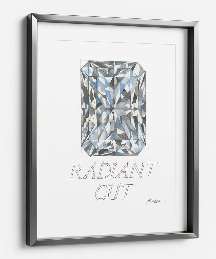 Radiant Cut Diamond Watercolor Rendering printed on Paper