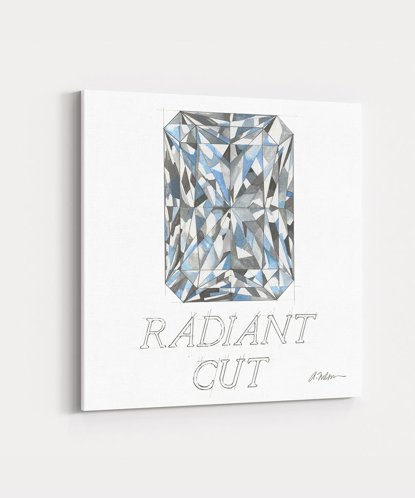 Radiant Cut Diamond Watercolor Rendering printed on Canvas
