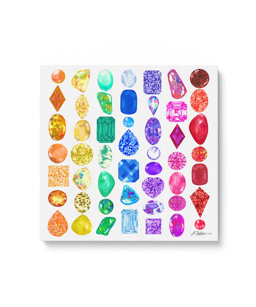 Rainbow Gemstone Rendering Series I Watercolor on Canvas