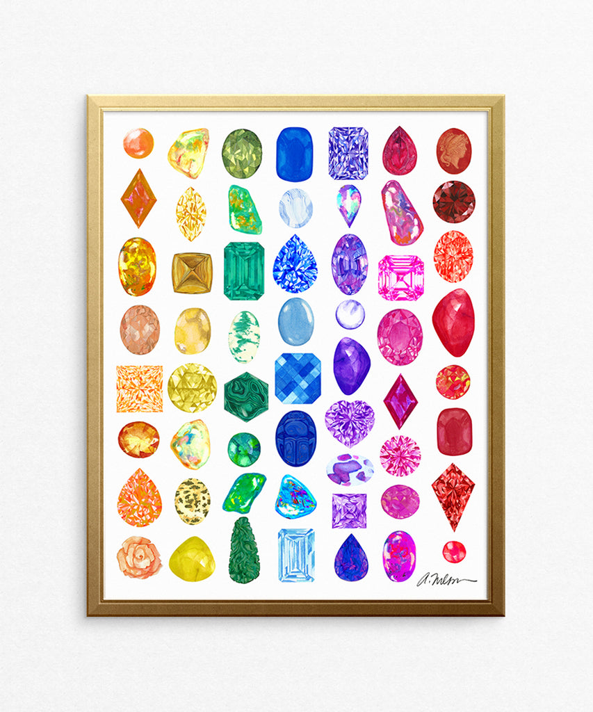 Rainbow Gemstone Rendering Series I Watercolor on Paper