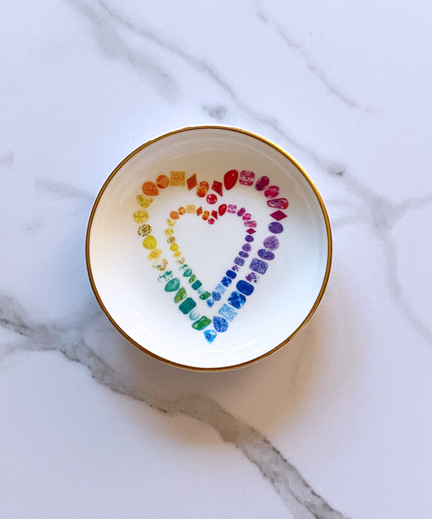 Rainbow Gemstone Hearts Porcelain Ring Dish
