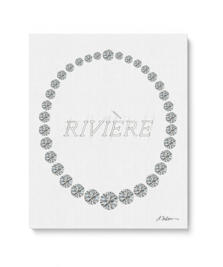 Diamond Riviera Watercolor Rendering printed on Canvas