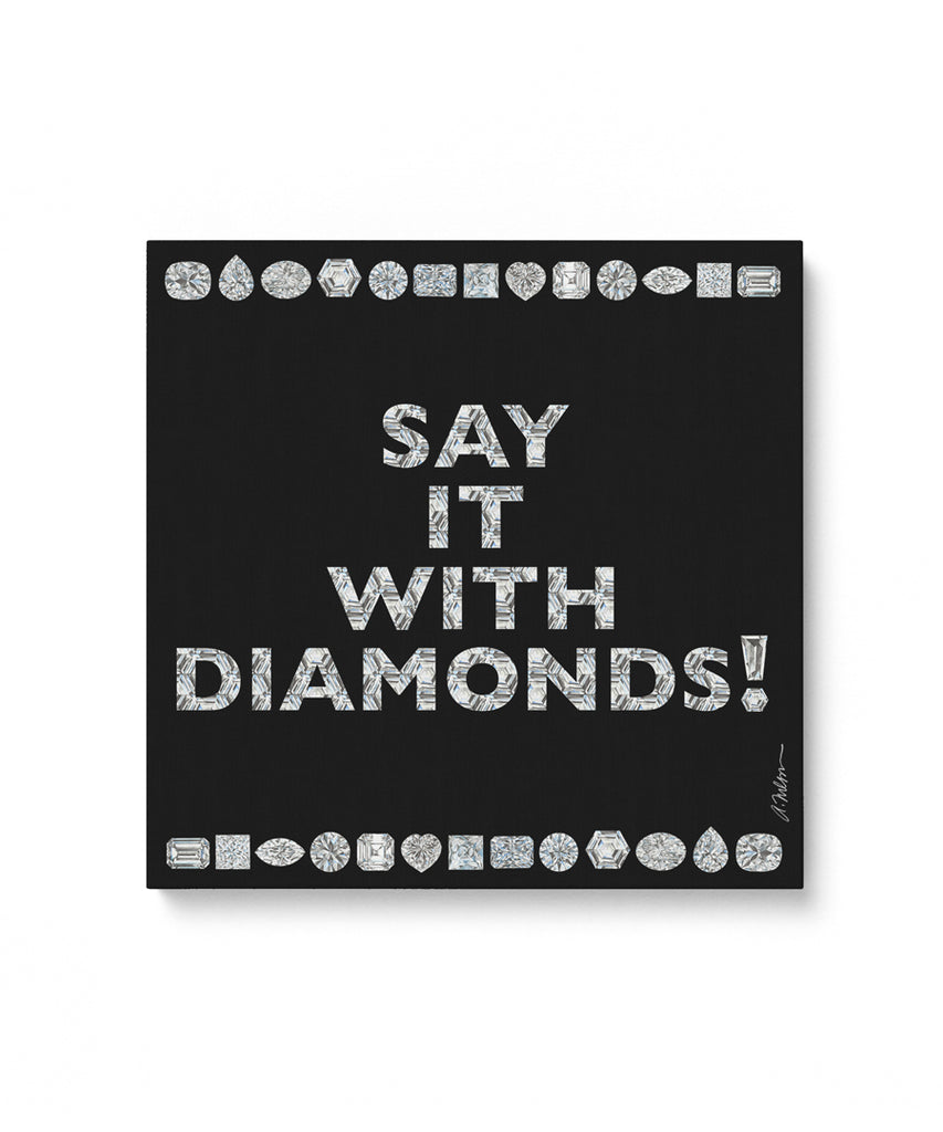 Say it with Diamonds Watercolor Rendering printed on Canvas
