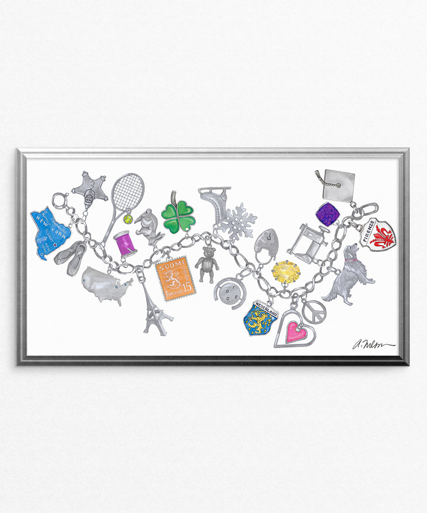 Silver Charm Bracelet Watercolor Rendering printed on Paper