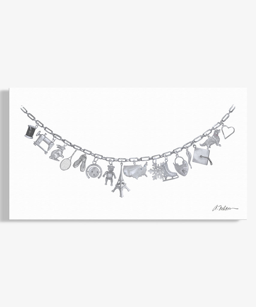 Silver Charm Necklace Watercolor Rendering on Canvas