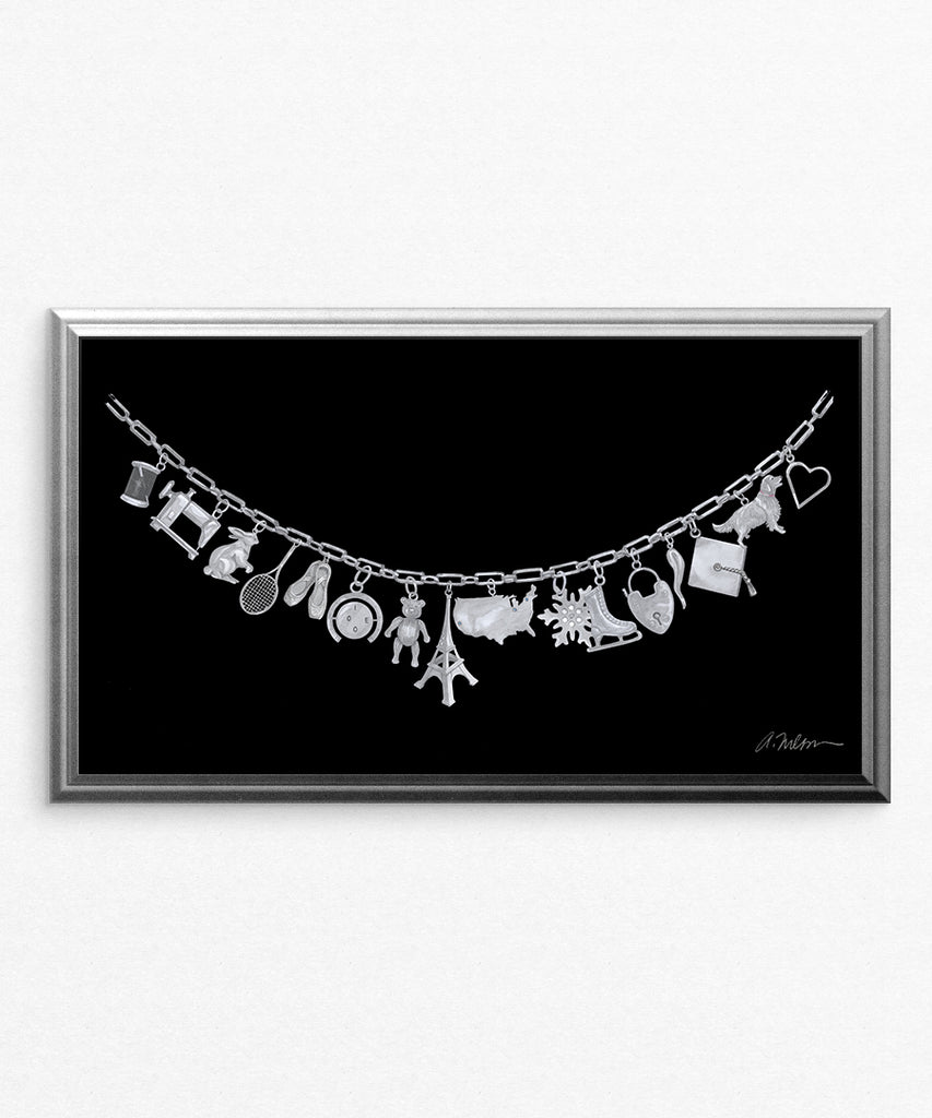 Silver Charm Necklace Watercolor Rendering printed on Paper
