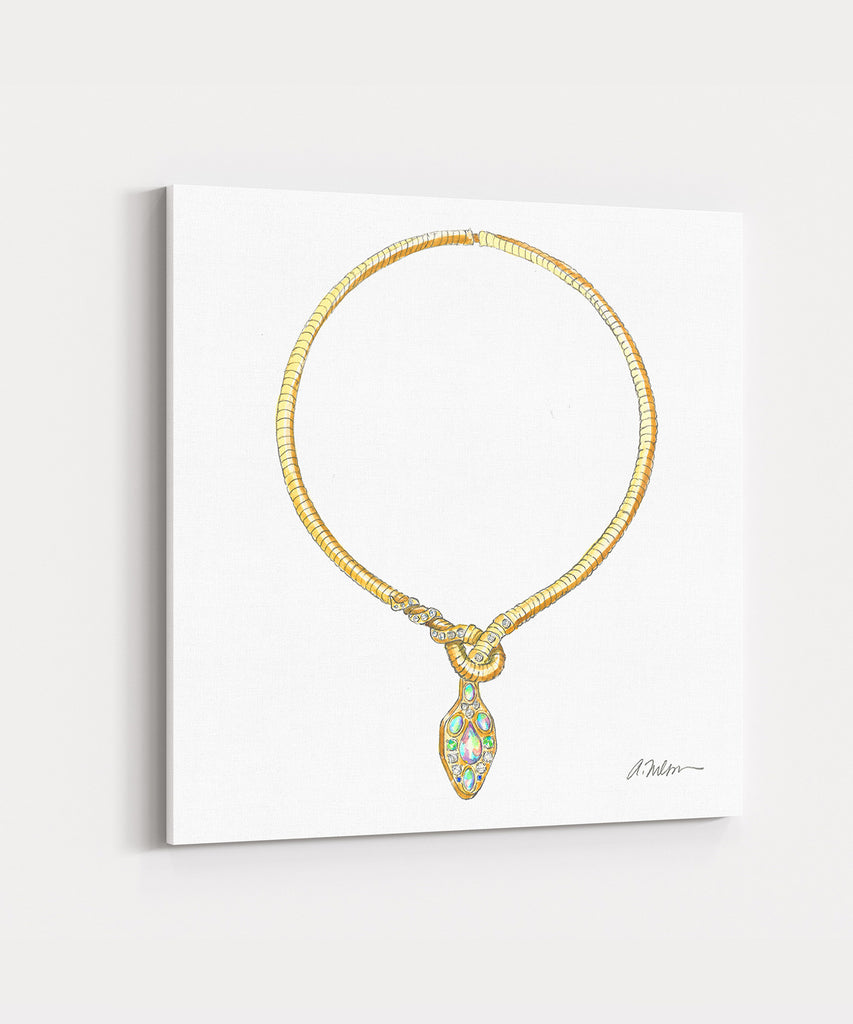 Snake Necklace Watercolor Rendering in Gold with Diamonds, Opals, Emeralds & Sapphires printed on Canvas