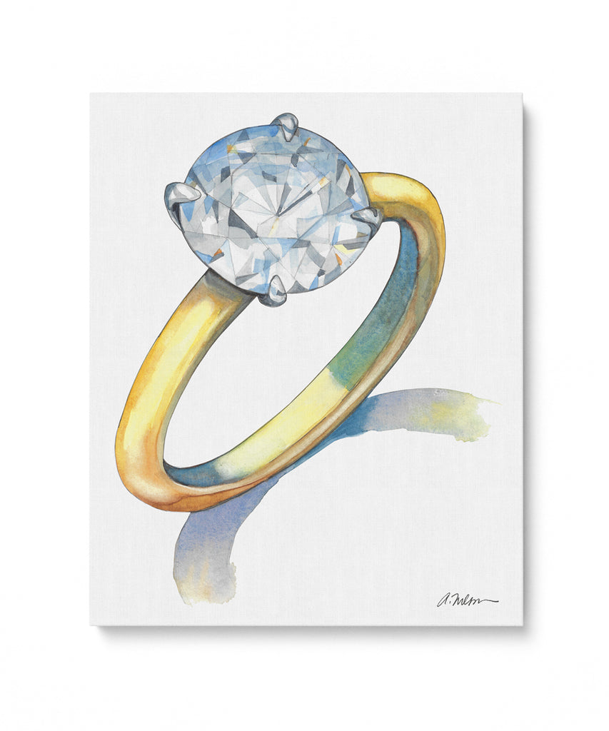Solitaire Engagement Ring Watercolor Rendering on Canvas