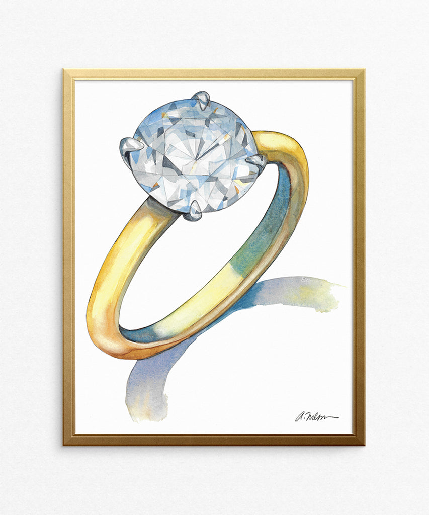 Solitaire Engagement Ring Watercolor Rendering on Paper