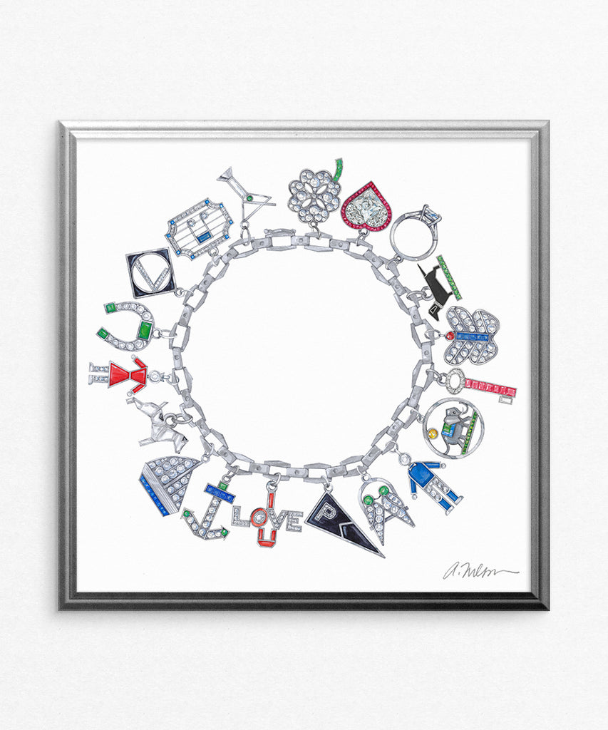 Art Deco Charm Bracelet (Square) Watercolor Rendering printed on Paper