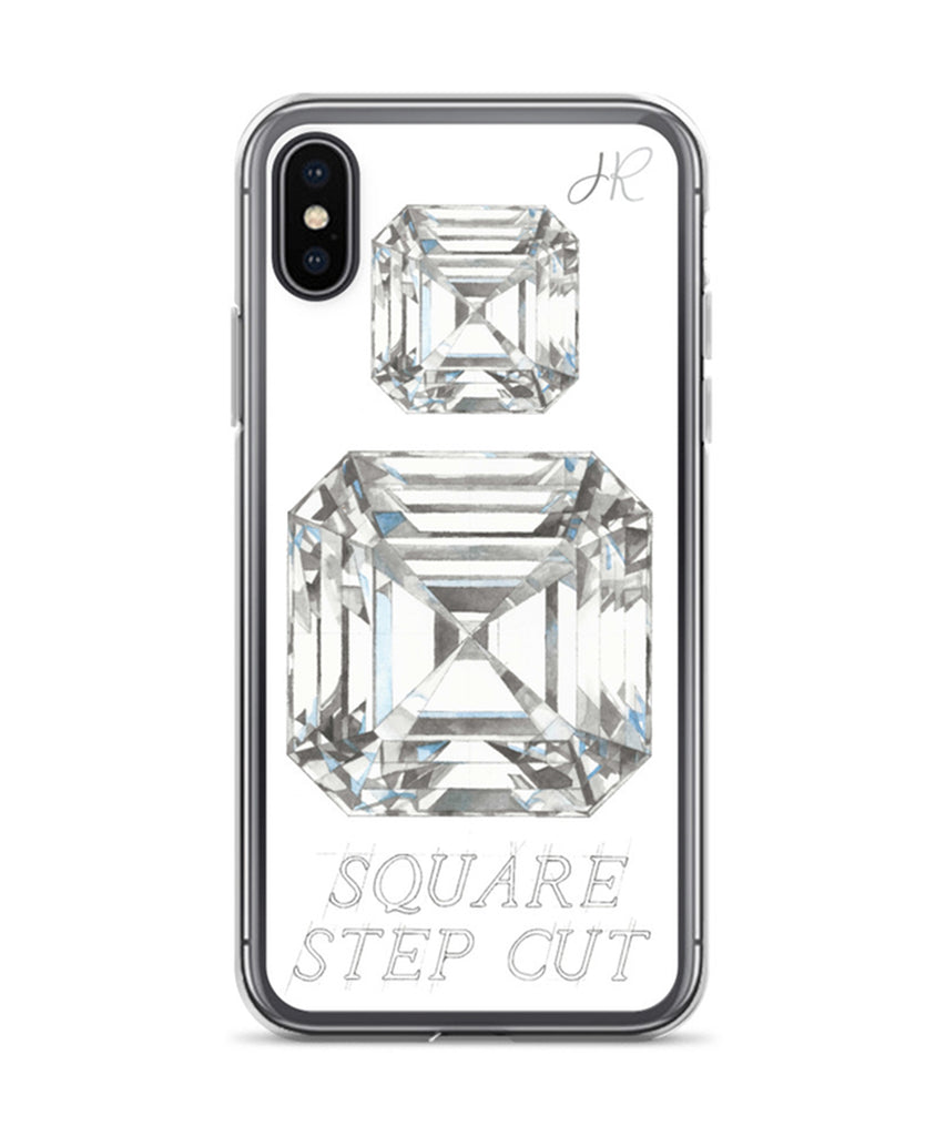 Square Step Cut Diamond Phone Case