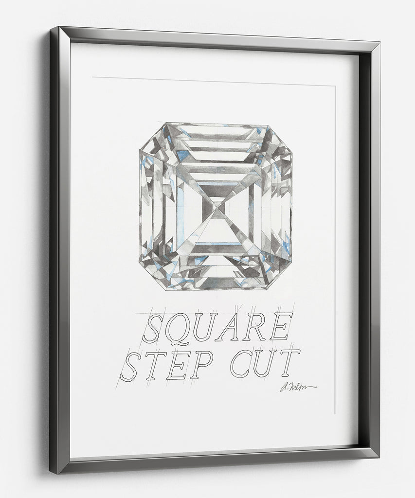 Square Step Cut Diamond Watercolor Rendering printed on Paper