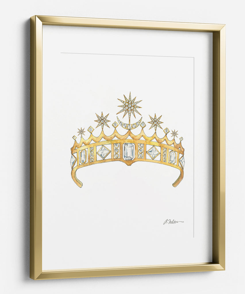 Star & Crescent Moon Tiara Watercolor Rendering printed on Paper