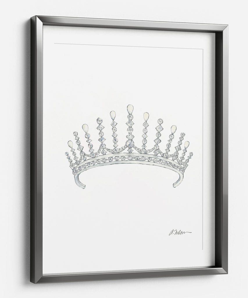 Diamond & Pearl Tiara Watercolor Rendering printed on Paper