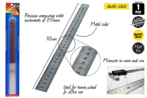 1pce Metal Ruler 30cm - sillywillyscraft