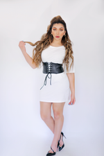 Load image into Gallery viewer, Trend Setter White Corset T Shirt Dress