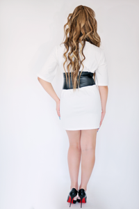 Trend Setter White Corset T Shirt Dress