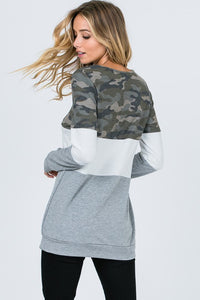 CAMO COLOR BLOCK SWEATSHIRT
