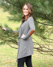 CHARCOAL ELBOW PATCH CARDIGAN