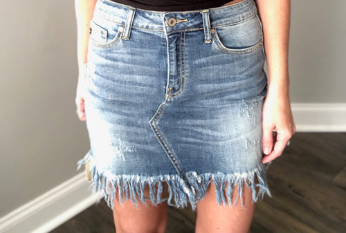KANCAN FRAYED DENIM SKIRT