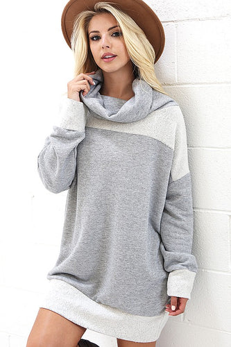 Womens fashion gray and white cowl neck sweater from tulip lane boutique