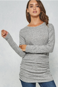 HEATHER GREY FITTED BRUSHED KNIT TOP