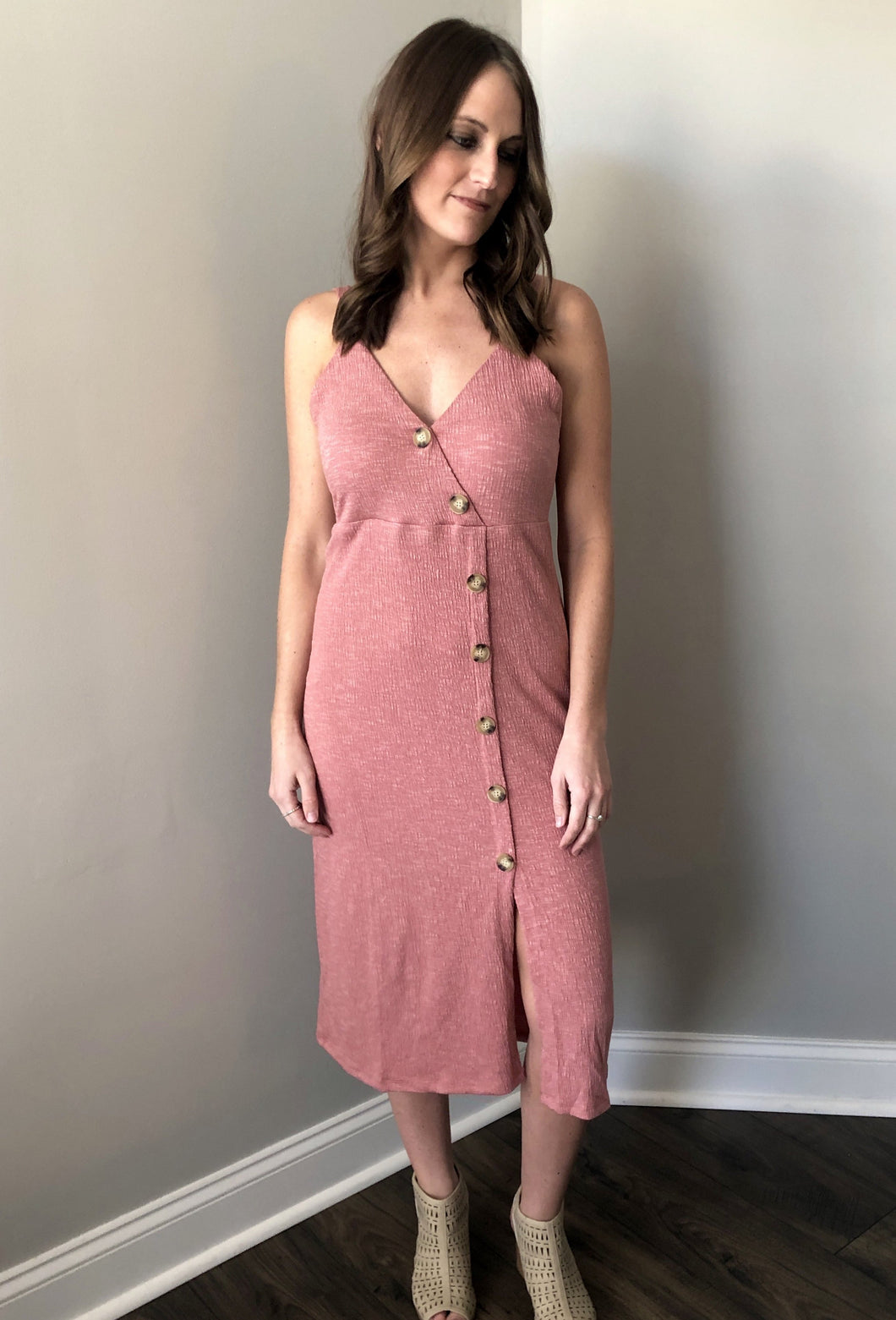 MAUVE BUTTON DRESS