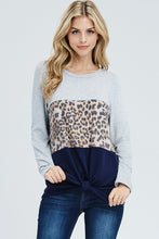 CHEETAH LONG SLEEVE COLOR BLOCK KNIT TOP