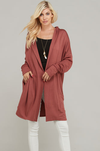 Women's fashion chunky marsala long cardigan from Tulip Lane Boutique