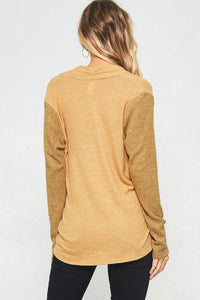 Women's fashion Mustard high low long sleeve with VNeck from Tulip Lane Boutique