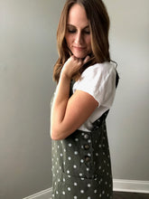 OLIVE POLKA DOT OVERALL DRESS
