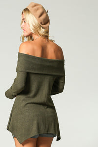 Women's off the shoulder green off the shoulder tunic from Tulip Lane Boutique