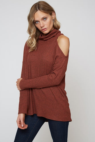 Women's fashion cold shoulder knit top with turtleneck from Tulip Lane Boutique