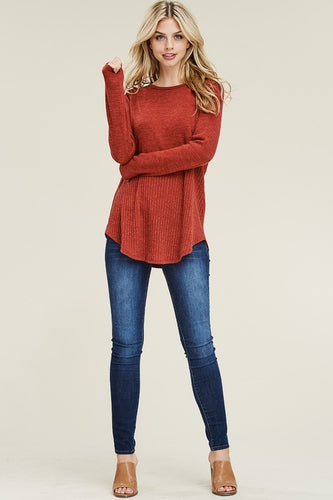 Rust long sleeve sweater for women from Tulip Lane Boutique