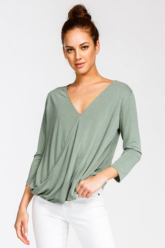 3/4 top, long sleeve top, green top, flowy top