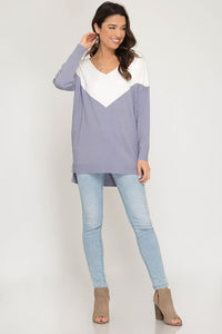Women's fashion, chevron long sleeve top from Tulip Lane Boutique