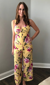 YELLOW FLORAL JUMPSUIT