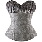 8 Sizes Red/Black/Gold/Gray/Ivory Ruffle and Floral Style Overbust Polyester Satin Corset