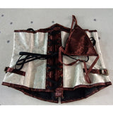 5 Sizes Brown and White Hook Closure Brocade Polyester Underbust Corset