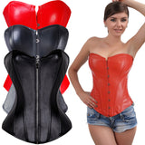 9 Sizes Black/Red Hook/Zipper Closure Overbust Polyester Gothic Corset