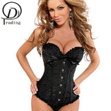5 Sizes Black/Blue/Green/Pink/Purple/Red/White/Yellow/Red Black Lace and Bow Decorated Button Closure Overbust Polyester Sexy Corset