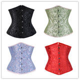 10 Sizes Beige/White/Black/Green/Red/Blue/Pink/Purple Button Closure Underbust Polyester Lace Corset
