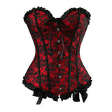 4 Sizes Blue/Beige/Pink/Red Floral Patterned Button Closure Overbust Gothic Corset