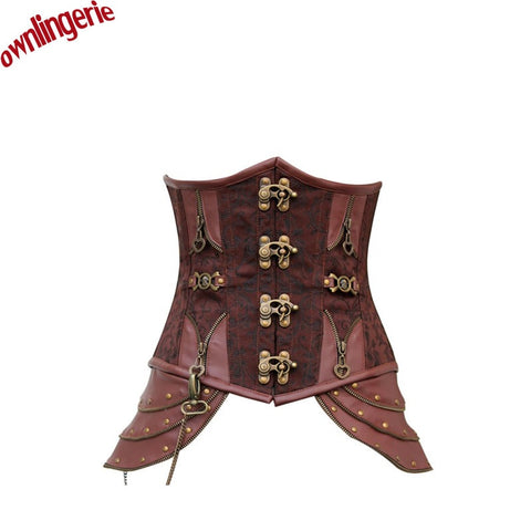 5 Sizes Brown Bucket Closure Underbust Polyester Brocade Girdle